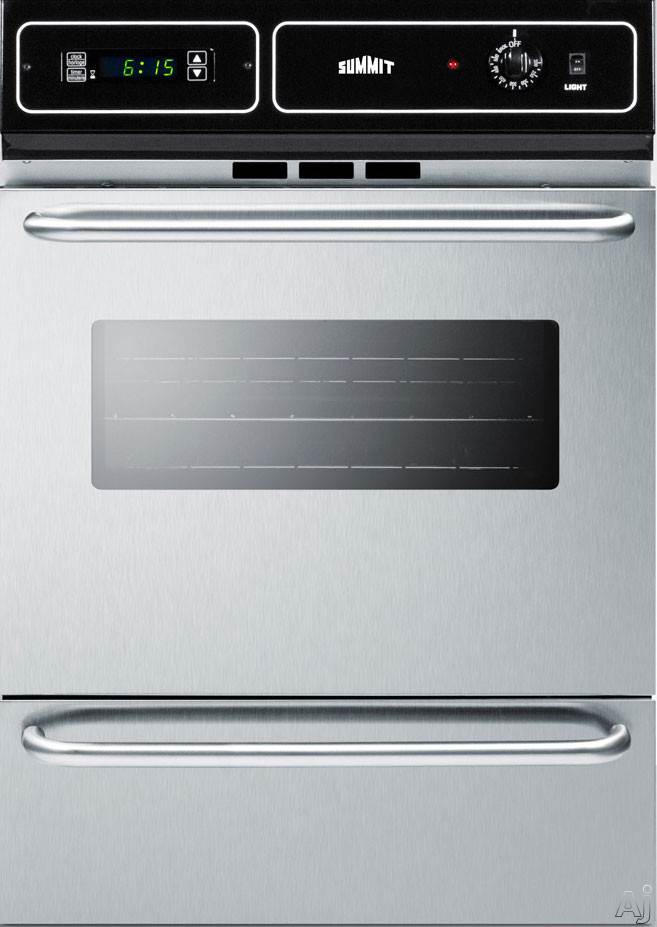 Summit TEM721BKW 24 Inch Single Electric Wall Oven with 2.92 cu. ft. Capacity, 2 Oven Racks, Interior Light, Oven Window, Digital Clock and Timer, Broiler Pan and Grill, Storage Compartment and Manual