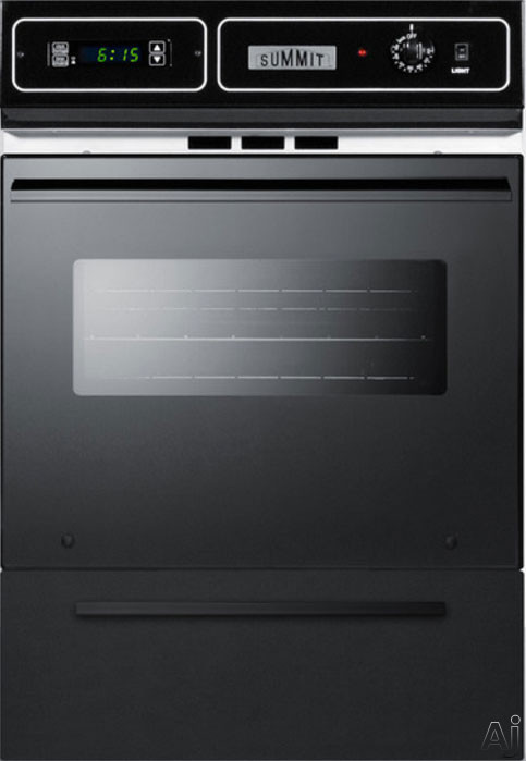 Summit TEM721DK 24 Inch Single Electric Wall Oven with 2.92 cu. ft. Capacity, 2 Oven Racks, Interior Light, Oven Window, Digital Clock and Timer, Broiler Pan and Grill, Storage Compartment and Manual
