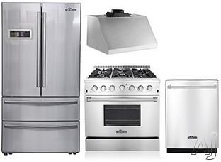 Thor Kitchen TKKPRERADWRH10 4 Piece Kitchen Appliances Package with French Door Refrigerator, Gas Range and Dishwasher in Stainless Steel