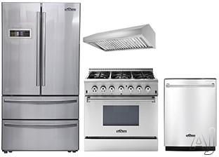 Thor Kitchen TKKPRERADWRH11 4 Piece Kitchen Appliances Package with French Door Refrigerator, Dual Fuel Range and Dishwasher in Stainless Steel
