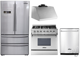 Thor Kitchen TKKPRERADWRH12 4 Piece Kitchen Appliances Package with French Door Refrigerator, Dual Fuel Range and Dishwasher in Stainless Steel