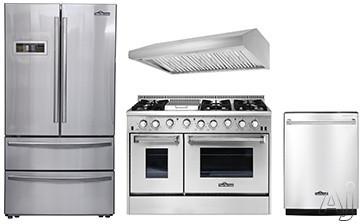 Thor Kitchen TKKPRERADWRH13 4 Piece Kitchen Appliances Package with French Door Refrigerator, Gas Range and Dishwasher in Stainless Steel