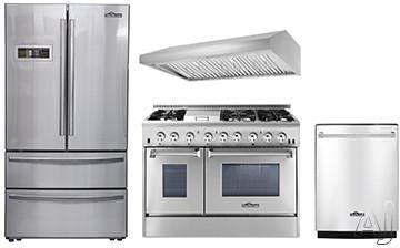 Thor Kitchen TKKPRERADWRH15 4 Piece Kitchen Appliances Package with French Door Refrigerator, Dual Fuel Range and Dishwasher in Stainless Steel