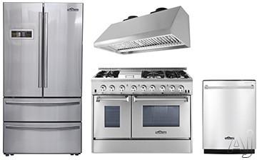 Thor Kitchen TKKPRERADWRH16 4 Piece Kitchen Appliances Package with French Door Refrigerator, Dual Fuel Range and Dishwasher in Stainless Steel