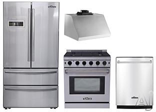 Thor Kitchen TKKPRERADWRH2 4 Piece Kitchen Appliances Package with French Door Refrigerator, Gas Range and Dishwasher in Stainless Steel