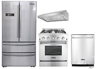 Thor Kitchen TKKPRERADWRH1 4 Piece Kitchen Appliances Package with French Door Refrigerator, Gas Range and Dishwasher in Stainless Steel