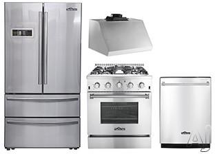 Thor Kitchen TKKPRERADWRH4 4 Piece Kitchen Appliances Package with French Door Refrigerator, Gas Range and Dishwasher in Stainless Steel