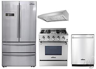 Thor Kitchen TKKPRERADWRH5 4 Piece Kitchen Appliances Package with French Door Refrigerator, Dual Fuel Range and Dishwasher in Stainless Steel