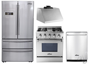Thor Kitchen TKKPRERADWRH6 4 Piece Kitchen Appliances Package with French Door Refrigerator, Dual Fuel Range and Dishwasher in Stainless Steel