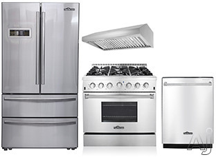 Thor Kitchen TKKPRERADWRH9 4 Piece Kitchen Appliances Package with French Door Refrigerator, Gas Range and Dishwasher in Stainless Steel