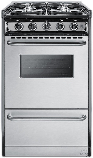 Summit Professional Series TNM11027BFRWY 20 Inch Slide-in Gas Range with 4 Sealed Burners, 2.5 cu. ft. Capacity, Black Porcelain Surface and Broiler Drawer: Natural Gas
