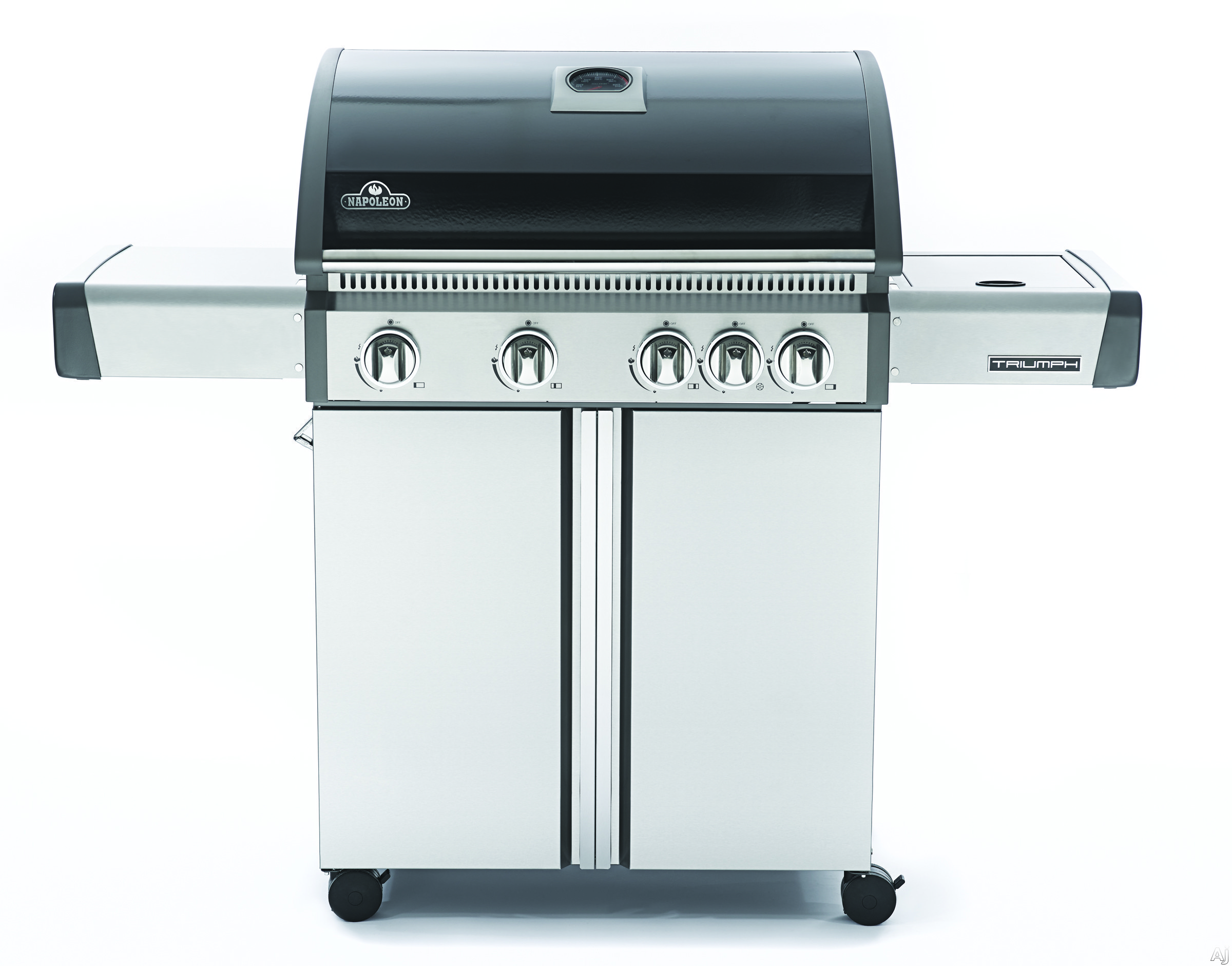 Napoleon Triumph Series T495SBPK 56 Inch Freestanding Gas Grill with 645 sq. in. Cooking Area, 57,200 Total BTU, 4 Main Burners, Side Burner, Cast Iron Cooking Grids, Warming Rack and Temperature Gaug