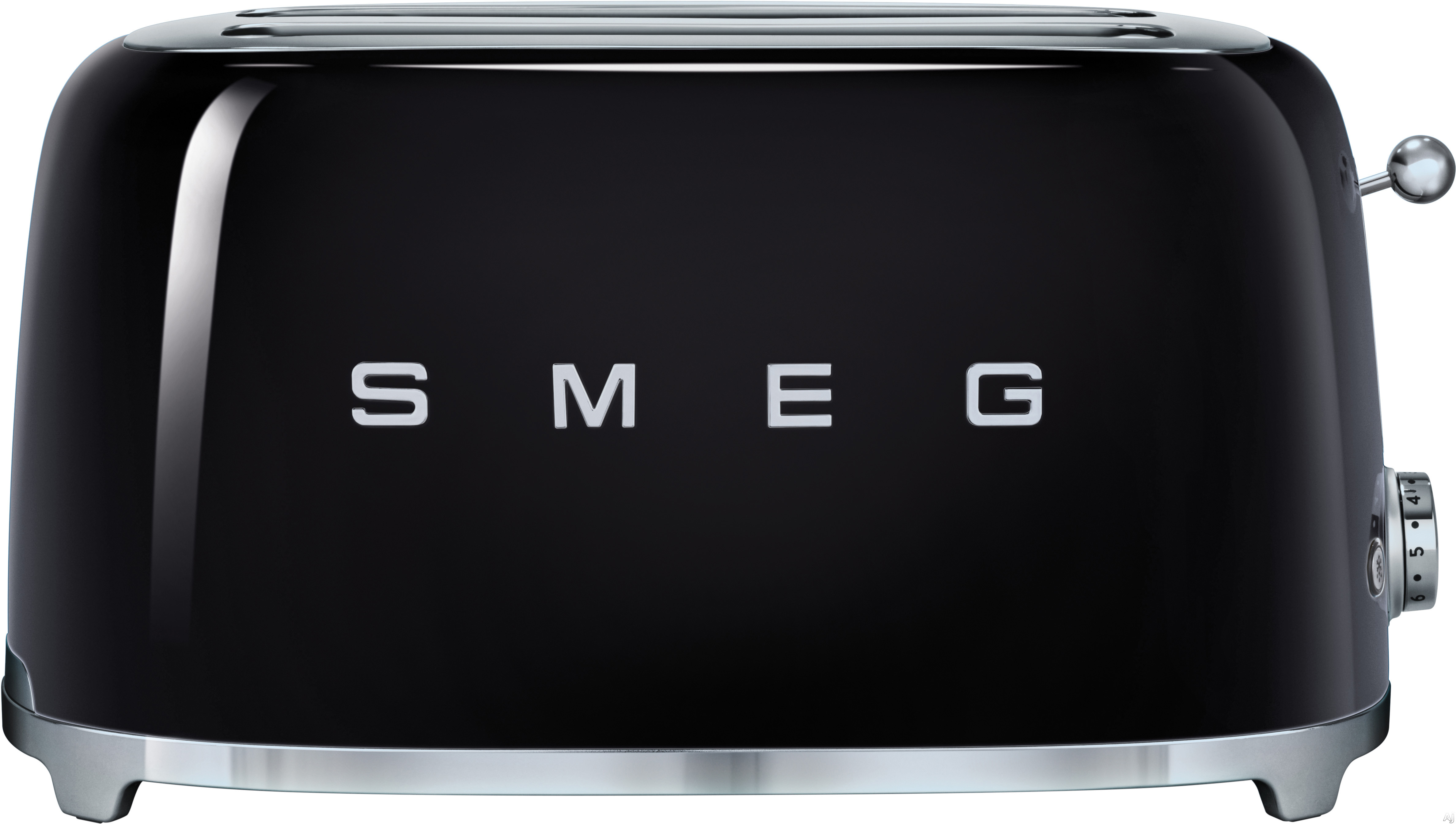 Smeg 50 s Retro Design TSF02BLUS Countertop Toaster with 4 Slice Capacity Defrost Setting Bagel Setting Self Centering Racks Automatic Slice Pop Up and Stainless Steel Crumb Tray Black