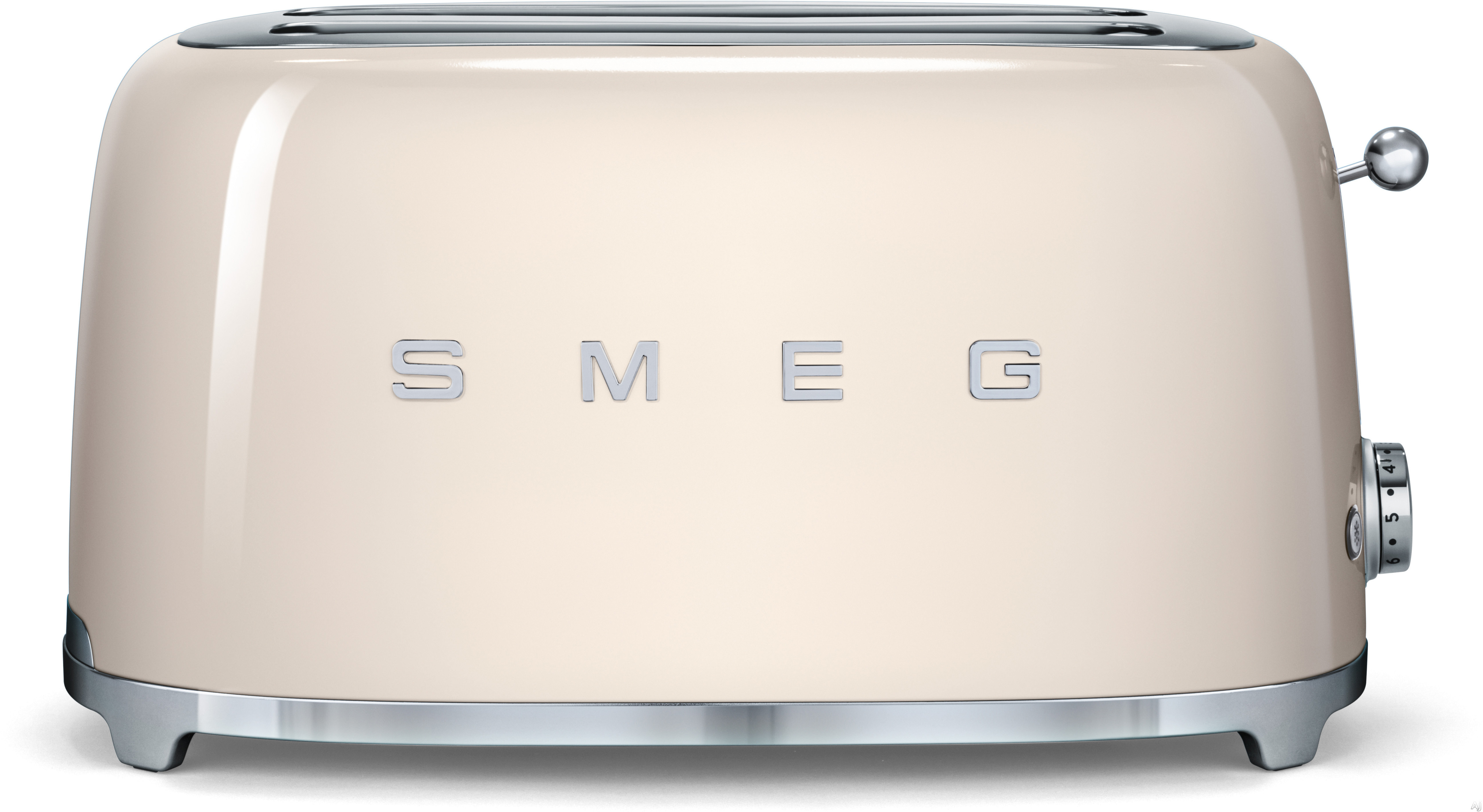 Smeg 50 s Retro Design TSF02CRUS Countertop Toaster with 4 Slice Capacity Defrost Setting Bagel Setting Self Centering Racks Automatic Slice Pop Up and Stainless Steel Crumb Tray Cream