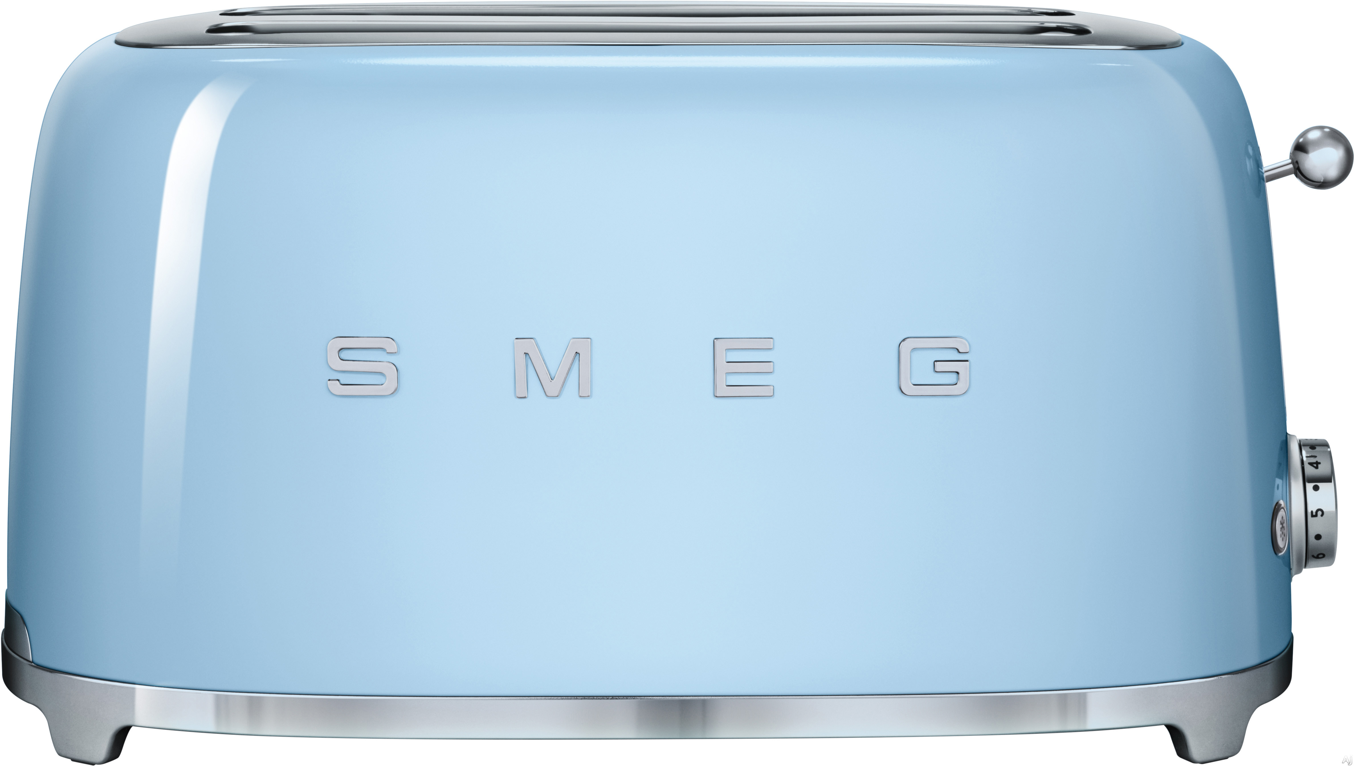 Smeg 50 s Retro Design TSF02PBUS Countertop Toaster with 4 Slice Capacity Defrost Setting Bagel Setting Self Centering Racks Automatic Slice Pop Up and Stainless Steel Crumb Tray Pastel Blue