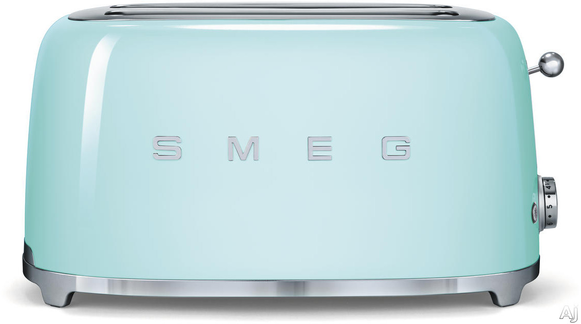 Smeg 50 s Retro Design TSF02PGUS Countertop Toaster with 4 Slice Capacity Defrost Setting Bagel Setting Self Centering Racks Automatic Slice Pop Up and Stainless Steel Crumb Tray Pastel Green