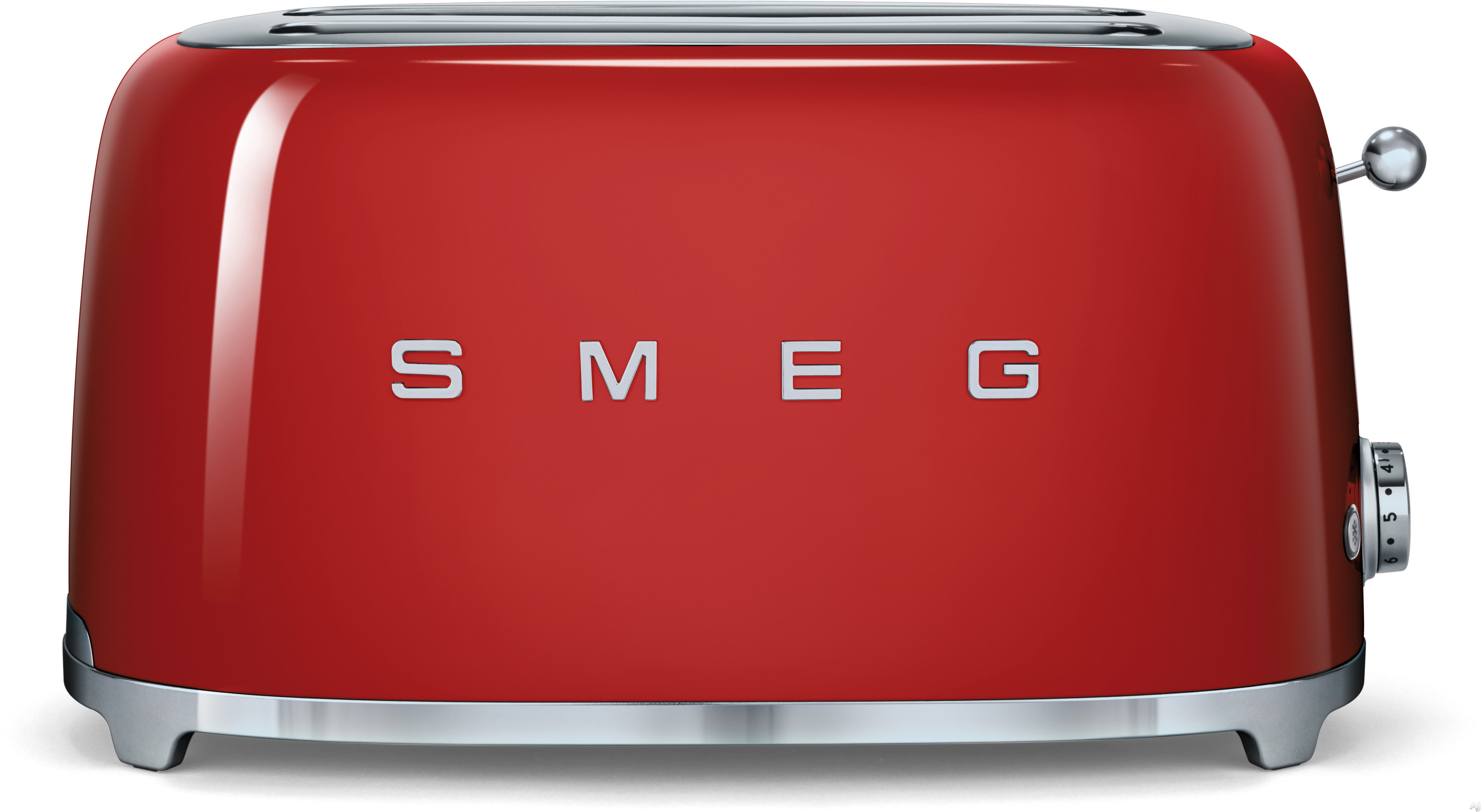 Smeg 50's Retro Design TSF02RDUS Countertop Toaster with 4 Slice Capacity, Defrost Setting, Bagel Setting, Self-Centering Racks, Automatic Slice Pop Up and Stainless Steel Crumb Tray: Red