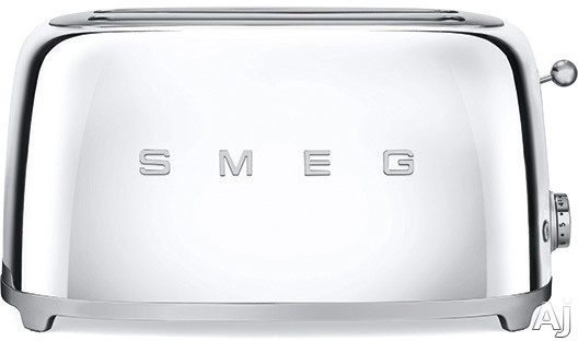 Smeg 50 s Retro Design TSF02SSUS Countertop Toaster with 4 Slice Capacity Defrost Setting Bagel Setting Self Centering Racks Automatic Slice Pop Up and Stainless Steel Crumb Tray Chrome