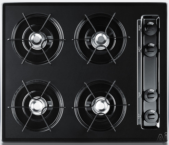 Summit TTL03P 24 Inch Gas Cooktop with 4 Open Burners, 9,000 BTU Burners, Porcelain Enameled Steel Grates, Recessed Top and Battery Start Ignition: Black