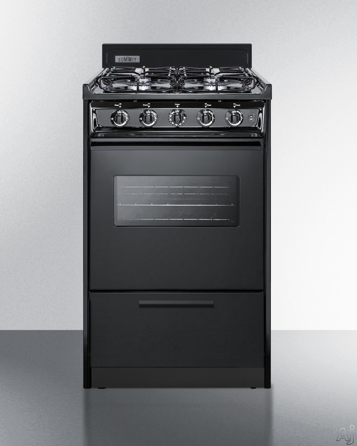Summit TTM1107CSW 20 Inch Freestanding Gas Range with Oven Window, 4 Sealed Burners, Broiler Compartment, Push-to-Turn Knobs, Broiler Pan Included, 2 Wire Oven Racks, Removable Burner Caps, Electronic