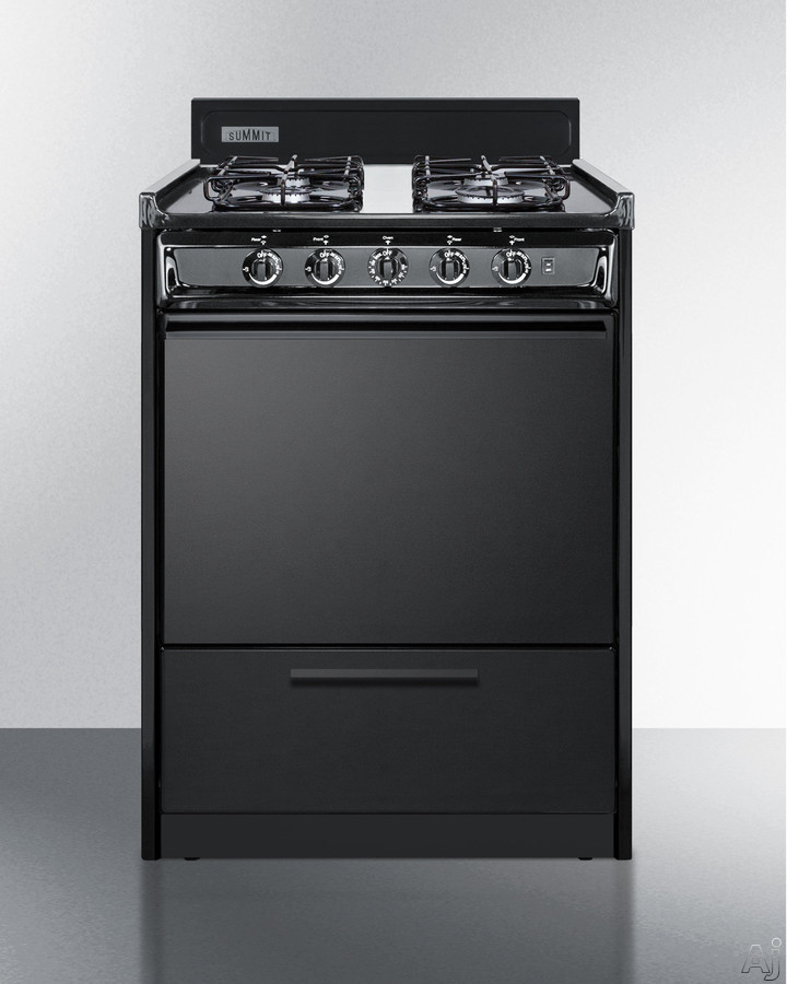 Summit TTM6107CS 24 Inch Freestanding Gas Range with 4 Sealed Burners, 12,000 BTU Burner, Drop-Down Broiler Compartment, Push-to-Turn Knobs, 2 Wire Oven Racks, Electronic Ignition, 2.92 cu. ft. Oven C