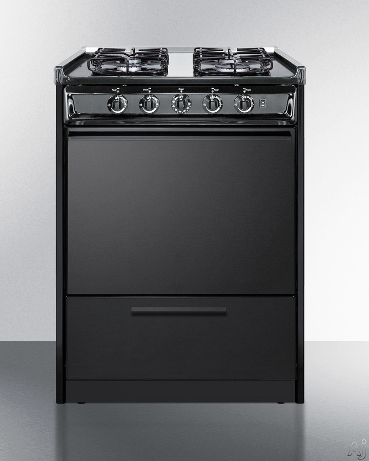 Summit TTM6107CRS 24 Inch Slide-In Gas Range with Sealed Burners, Separate Broiling, Push-to-Turn Knobs, Broiler Pan Included, ADA Compliant, Electronic Ignition, Removable Burner Caps, LP Convertible