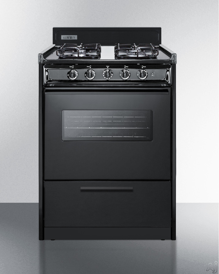 Summit TTM6107CSW 24 Inch Freestanding Gas Range with Oven Window, 4 Sealed Burners, 12,000 BTU Burner, Interior Lighting, Drop-Down Broiler Compartment, Push-to-Turn Knobs, 2 Wire Oven Racks, Electro