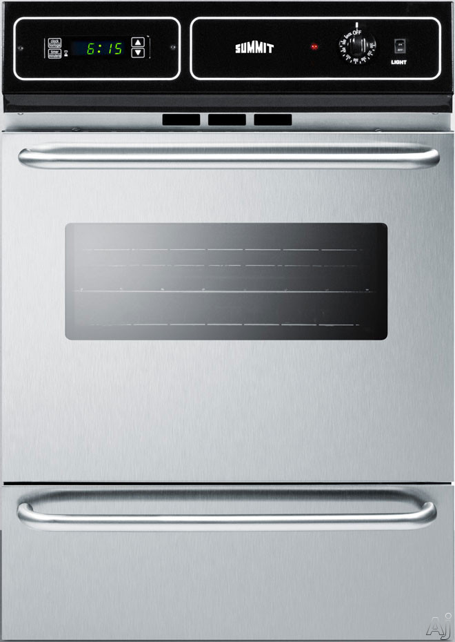 Summit TTM7212BKW 24 Inch Single Gas Wall Oven with Electronic Ignition, LP Conversion, Porcelain Interior, Lower Broiler, Digital Clock, Timer, Interior Light and 2.92 cu. ft. Capacity: Stainless Ste