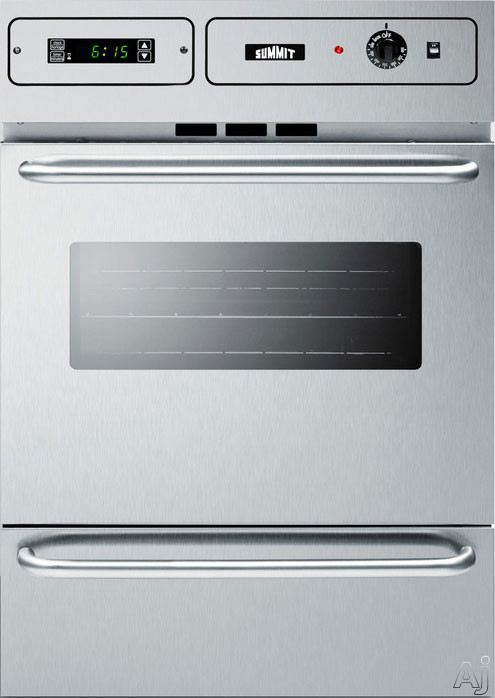 Summit TEM788BKW 24 Inch Single Electric Wall Oven with 2.92 cu. ft. Capacity, 2 Oven Racks, Interior Light, Oven Window, Digital Clock and Timer, Broiler Pan and Grill, Storage Compartment and Manual