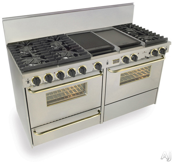FiveStar TPN6377BSW 60 Inch Pro-Style Dual-Fuel LP Gas Range with 6 Sealed Ultra High-Low Burners, 3.69 cu. ft. Convection Oven and 2 Double Sided Griddle/Grill: Stainless Steel with Brass Package