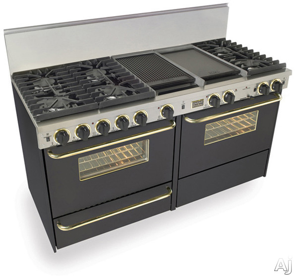 FiveStar TPN6377SW 60 Inch Pro-Style Dual-Fuel LP Gas Range with 6 Sealed Ultra High-Low Burners, 3.69 cu. ft. Convection Oven and 2 Double Sided Griddle/Grill: Black with Brass Package