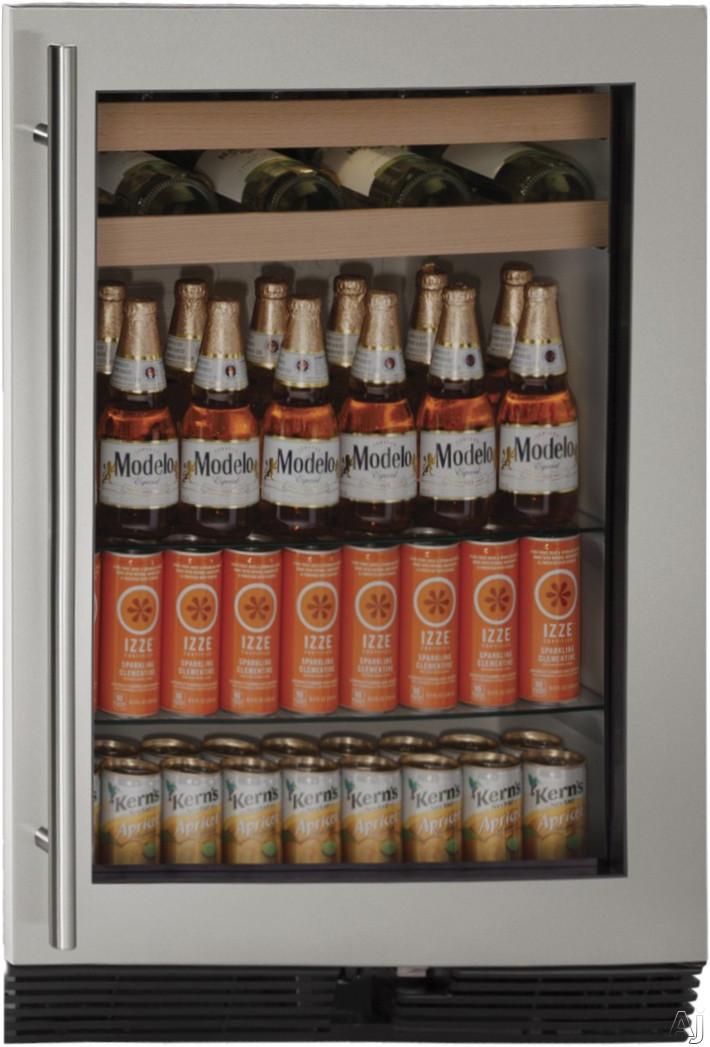 U Line 1000 Series U1024BEVS00A 24 Inch Built in Beverage Center with 54 cu ft Capacity 85 12 oz Bottle Capacity 105 12 oz Can Capacity 16 Wine Bottle Capacity Interior Lighting and Reversible Door Swing