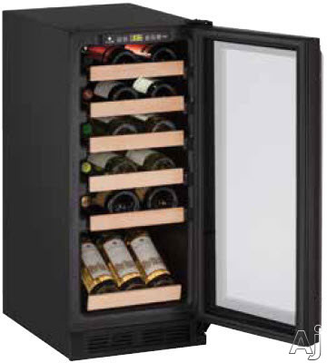 U-Line Wine Captain 1000 Series U1215WCB00A 15 Inch Undercounter Wine Storage with 24-Bottle Capacity, Natural Beech Wood Fronts, LED Lighting, Reversible Door Swing, Digital Touch Pad Control and Star-K Certified Sabbath Mode: Black