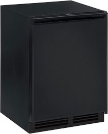 U-Line 1000 Series U1224RFB00A 4.2 cu. ft. Compact Refrigerator with 1.5 cu. ft. Freezer, 3 Removable Tempered Glass Shelves, Digital Touch Pad Control, LED Lighting, Sabbath Mode and Star K Certified: Black