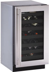 U-Line 3000 Series U3018WCSX 18 Inch Built-in Wine Storage with 31 Bottle Capacity, Single Zone Convection Cooling System, LED Theater Lighting, Vinyl Coated Wine Racks, U-Select Control, Integrated OLED Display, Sabbath Mode and Star-K Certified