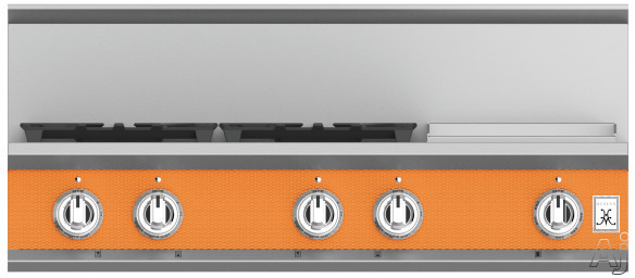 "Hestan KRT364GDLPOR 36 Inch Rangetop with 4 Sealed Burners, 12 Inch Griddle, Cast-Iron Continuous Grates, Backlit Control Knobs and Marquiseâ""¢ Control Panel: Natural Gas / Citra"