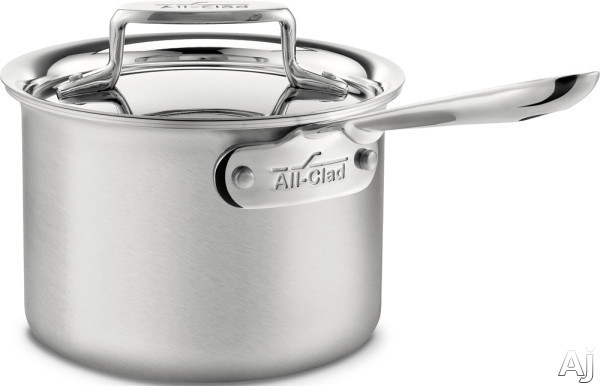 Image of All Clad BD55202 2-Quart d5 Brushed Stainless Steel Sauce Pan with 5-Ply Stainless Steel, Polished Surface, Stainless Steel Handles, Induction Suitable, Oven Safe, Dishwasher Safe, Limited Lifetime Warranty and Made in USA