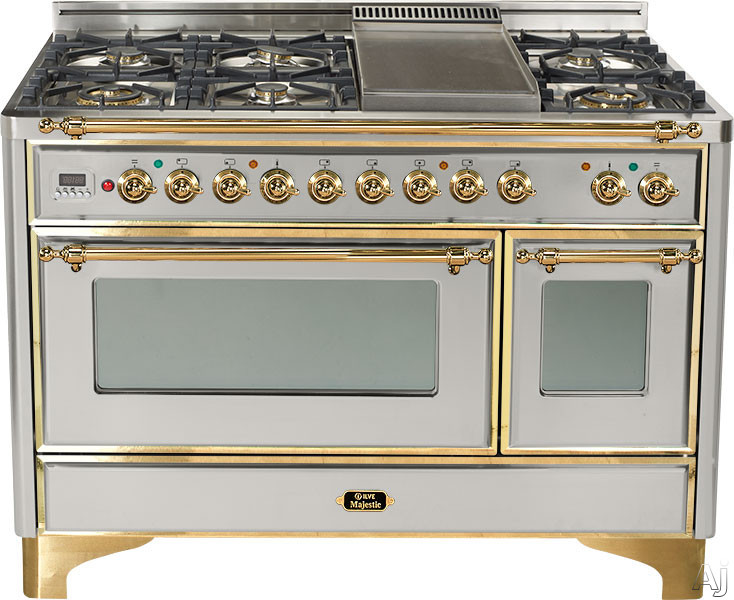 Ilve Majestic Collection UM120SDMP 48 Inch Freestanding Dual-Fuel Range with 5 Sealed Burners, 4.9 cu. ft. Capacity, French Cooktop, Dual Ovens, True European Convection, 15,500 BTU Triple-Ring Burner and 2 Rotisseries UM120SDMP