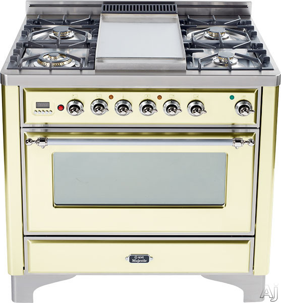 Ilve Majestic Collection UM906DMPAX 36 Inch Dual-Fuel Range with 6 Sealed Burners, 15500 BTU Triple-Ring Burner, 3.55 cu. ft. Convection Oven, Rotisserie and Chrome Trim: Antique White UM906DMPAX