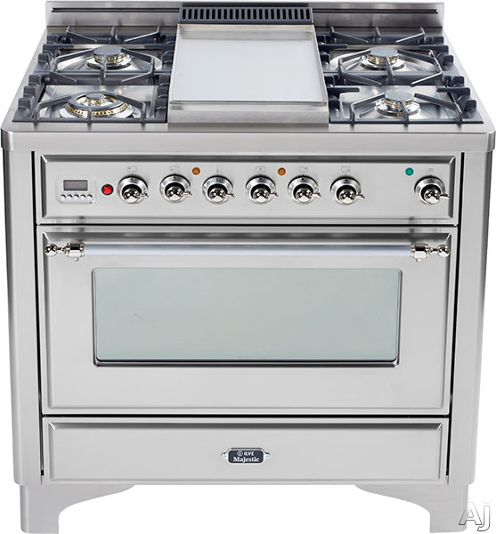 Ilve Majestic Collection UM906DMP 36 Inch Freestanding Dual-Fuel Range with 6 Sealed Burners, 3.55 cu. ft. Capacity, 15,500 BTU Triple-Ring Burner, Convection Oven and Rotisserie, Exact Model Not Pictured UM906DMP