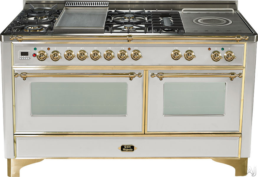 Ilve Majestic Collection UM150SDMP 60 Inch Freestanding Dual-Fuel Range with 6 Sealed Burners, 5.9 cu. ft. Capacity, French Cooktop, Two 15,500 BTU Triple Ring Burners, Dual Convection Ovens and Rotisserie UM150SDMP