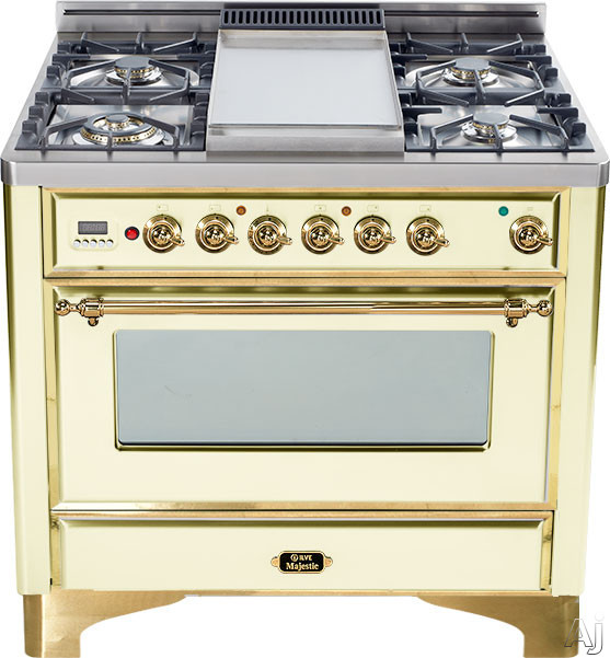 Ilve Majestic Collection UM906DMPA 36 Inch Freestanding Dual-Fuel Range with 6 Sealed Burners, 3.55 cu. ft. Capacity, 15,500 BTU Triple-Ring Burner, Convection Oven and Rotisserie, Exact Model Not Pictured: Antique White, Brass Trim UM906DMPA
