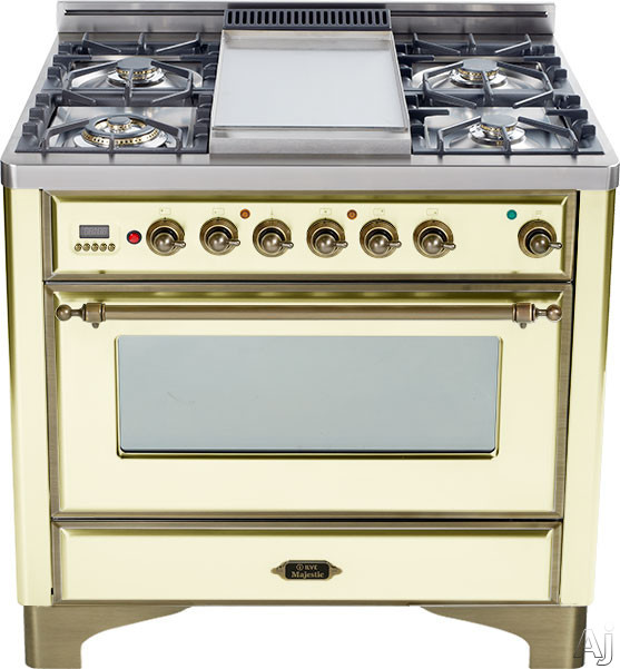 Ilve Majestic Collection UM906DMPAY 36 Inch Freestanding Dual-Fuel Range with 6 Sealed Burners, 3.55 cu. ft. Capacity, 15,500 BTU Triple-Ring Burner, Convection Oven and Rotisserie, Exact Model Not Pictured: Antique White, Oil Rubbed Bronze UM906DMPAY