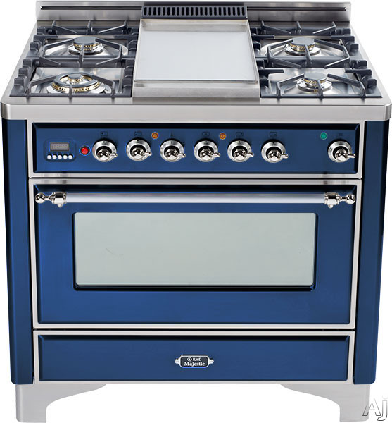 Ilve Majestic Collection UM906DMPBLX 36 Inch Freestanding Dual-Fuel Range with 6 Sealed Burners, 3.55 cu. ft. Capacity, 15,500 BTU Triple-Ring Burner, Convection Oven and Rotisserie, Exact Model Not Pictured: Midnight Blue, Chrome Trim UM906DMPBLX