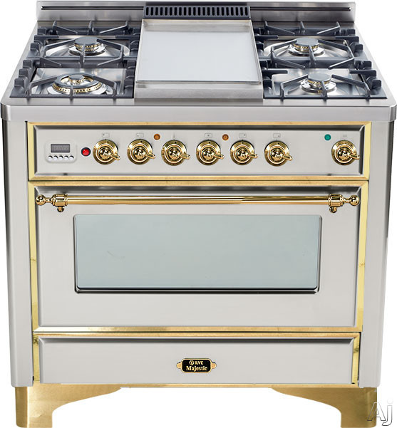 Ilve Majestic Collection UM906DMPI 36 Inch Freestanding Dual-Fuel Range with 6 Sealed Burners, 3.55 cu. ft. Capacity, 15,500 BTU Triple-Ring Burner, Convection Oven and Rotisserie, Exact Model Not Pictured: Stainless Steel, Brass Trim UM906DMPI