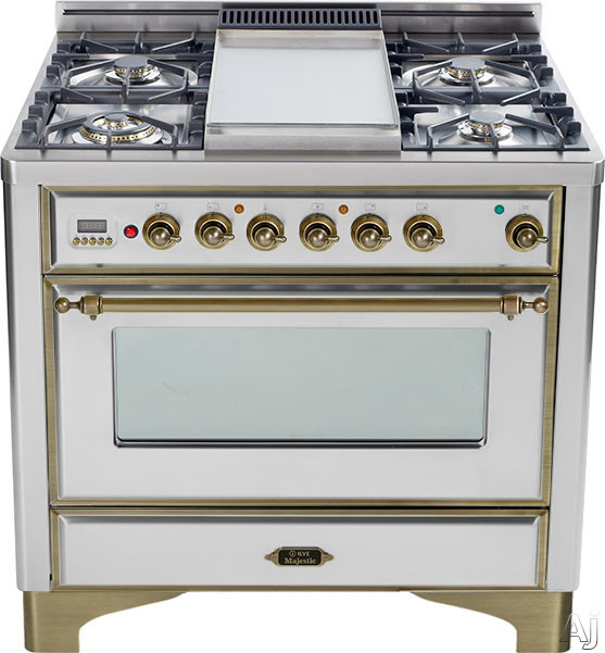 Ilve Majestic Collection UM906DMPIY 36 Inch Freestanding Dual-Fuel Range with 6 Sealed Burners, 3.55 cu. ft. Capacity, 15,500 BTU Triple-Ring Burner, Convection Oven and Rotisserie, Exact Model Not Pictured: Stainless Steel, Oil Rubbed Bronze Trim UM906D