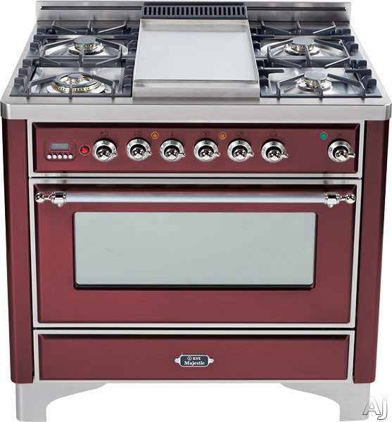 Ilve Majestic Collection UM906VGGRBX 36 Inch Traditional-Style Gas Range with 6 Sealed Burners, Convection Oven, Manual Clean, Infrared Broiler, Rotisserie, Warming Drawer and Chrome Trim: Burgundy Red UM906VGGRBX