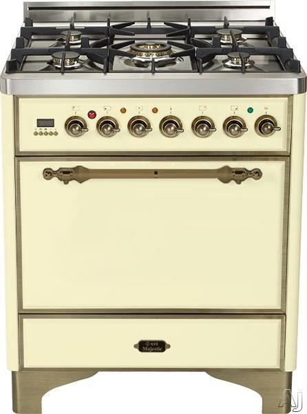 Ilve Majestic Collection UMC76DVGGAY 30 Inch Gas Range with 5 Burner, Dual Triple Ring Burner, Rotisserie, Warming Drawer, Digital Clock and Timer: Antique White, Oil Rubbed Bronze UMC76DVGGAY