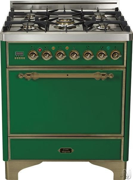Ilve Majestic Collection UMC76DVGGVSY 30 Inch Gas Range with 5 Burner, Dual Triple Ring Burner, Rotisserie, Warming Drawer, Digital Clock and Timer: Emerald Green, Oil Rubbed Bronze Trim