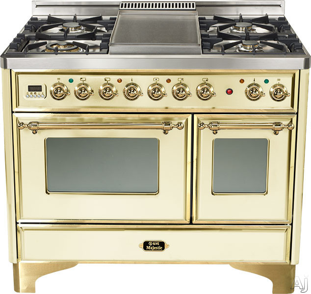 Ilve Majestic Collection UMD100SDMPA 40 Inch Freestanding Dual-Fuel Range with 4 Sealed Burners, 3.8 cu. ft. Capacity, French Cooktop, Dual Convection Ovens, 15,500 BTU Triple-Ring Burner and Rotisserie: Antique White, Brass Trim UMD100SDMPA